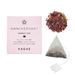 薬日本堂のブランド「カガエ」のアニバーサリーというブレンドハーブティー。妊活中の世代へのプレゼント用に人気。